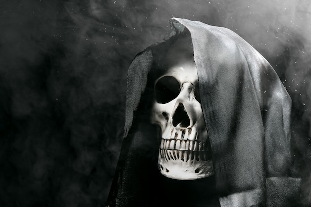 黒いマントの付いた人間の頭蓋骨 Premium写真
