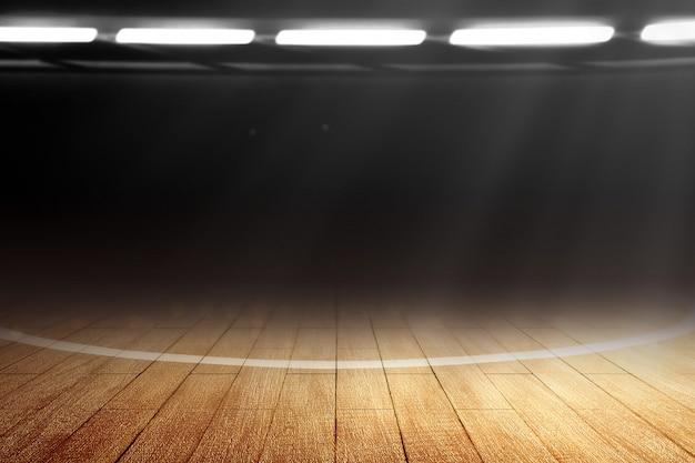 Крупным планом баскетбольная площадка с деревянным полом и прожекторами Premium Фотографии