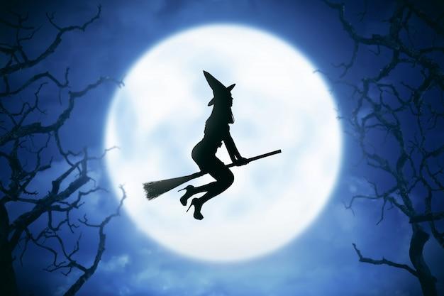 Силуэт ведьмы женщина езда волшебная метла Premium Фотографии