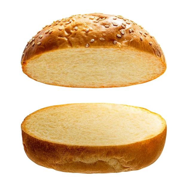 Бургер хлеб на белом Premium Фотографии