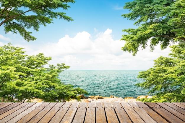 Деревянная дорожка на побережье Premium Фотографии