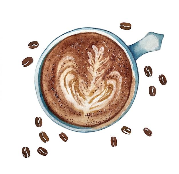 水彩の一杯のコーヒーカフェラテ、上面図。 Premium写真