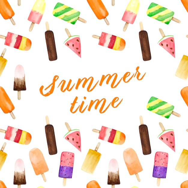 夏のテキストと白い背景の水彩画のアイスクリームとのシームレスなパターン。 Premium写真