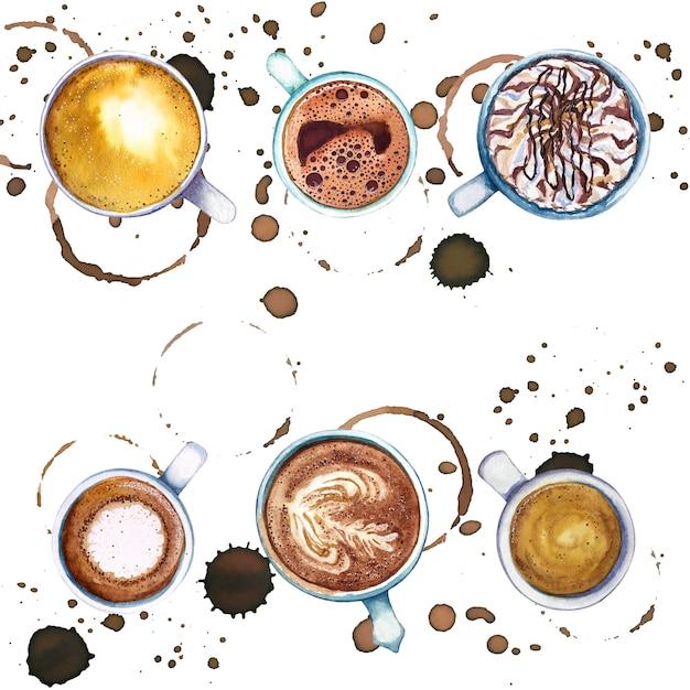 コーヒーのサークルと水しぶき、上面図の周りのコーヒーの水彩カップ。 Premium写真