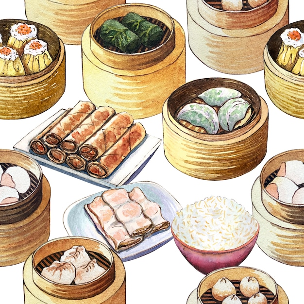 Акварель китайская еда дим бесшовный фон. Premium Фотографии