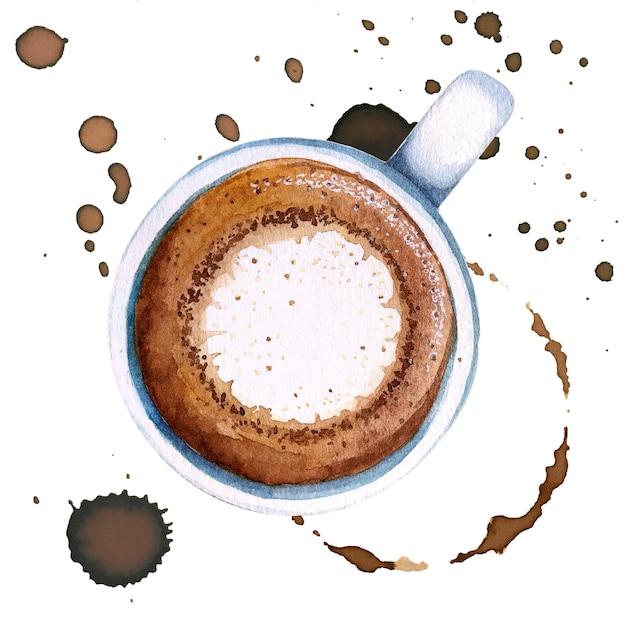 水彩の一杯のコーヒーのマキアート、上面図。 Premium写真