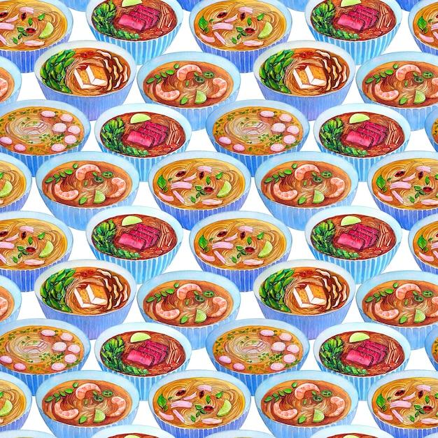 ベトナムのスープフォーとシームレスな水彩画のパターン。 Premium写真