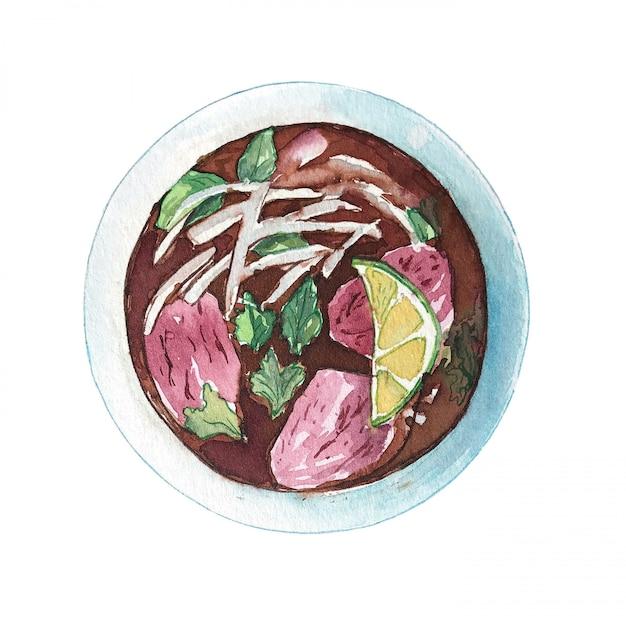 白い背景に、トップビューで分離された水彩のベトナムビーフスープフォー。 Premium写真