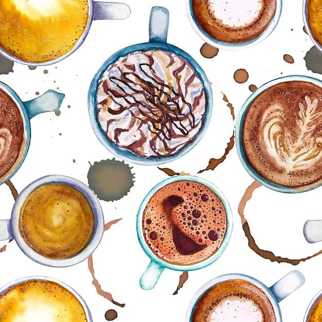 水彩のコーヒーカップのシームレスパターン、上面図。 Premium写真