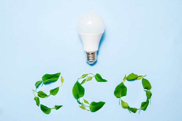 青色の背景に葉が付いている導かれたランプ。グリーンエネルギー効率の概念 Premium写真