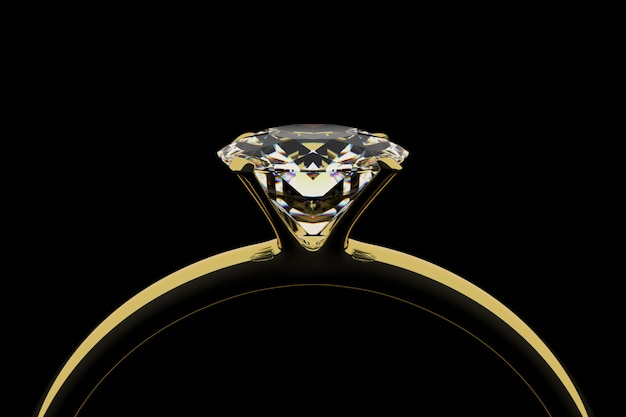ダイヤモンド付きゴールデンリング Premium写真