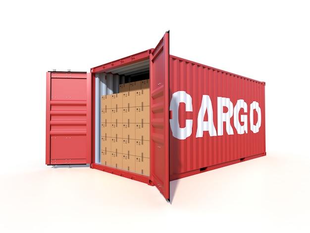 白で隔離され、段ボール箱で貨物コンテナーの側面図を出荷します。 Premium写真