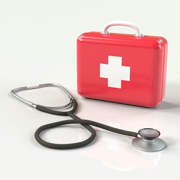 Аптечка первой помощи с крестиком и стетоскопом Premium Фотографии