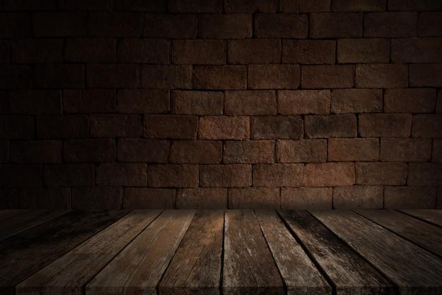 レンガの壁、汚れた背景のある昔の部屋 Premium写真
