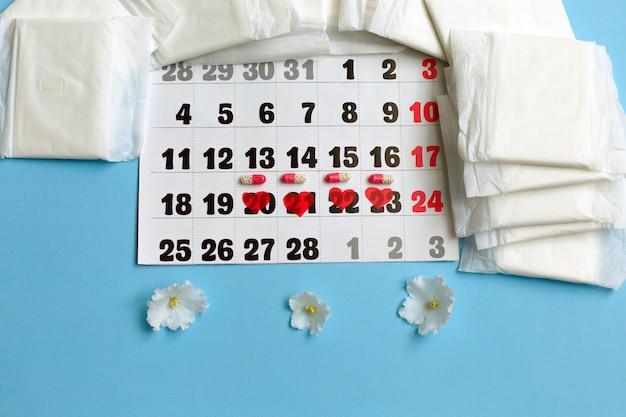 月経周期の概念。生理用ナプキン、避妊薬、花と月経カレンダー Premium写真