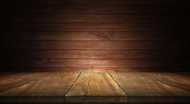 ぼやけた壁の背景に古い木のテーブル Premium写真