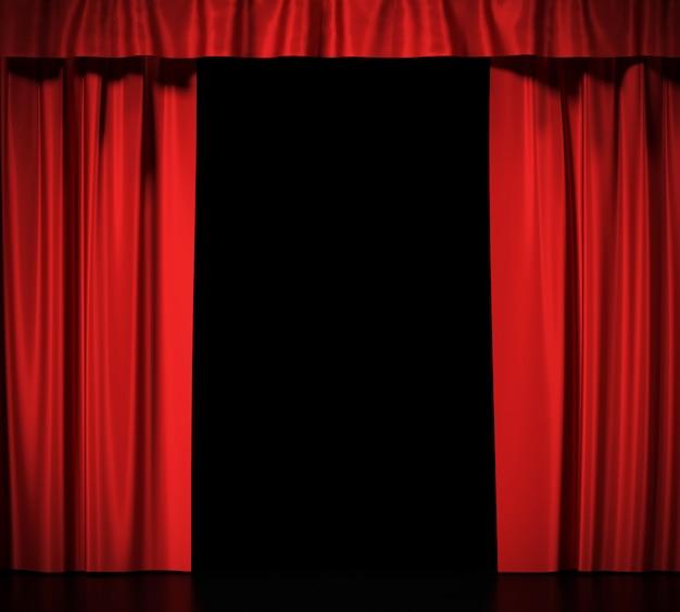 分離されたガーターと青い絹のカーテン Premium写真