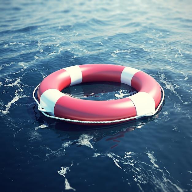 海の救命浮環、フォーカス効果のある海。 Premium写真