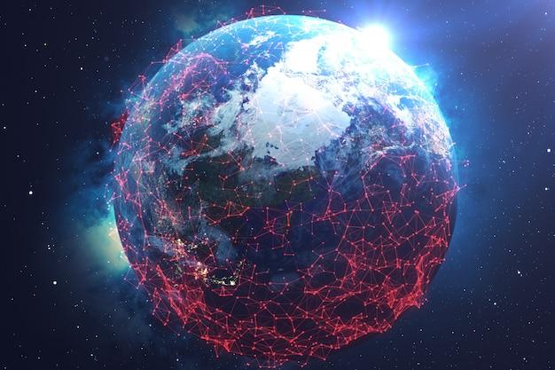 宇宙の地球上でのネットワークとデータ交換 Premium写真