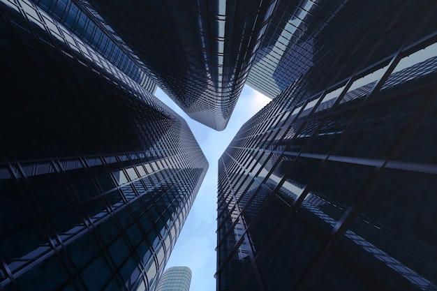 高層ビルの低角度のビュー。 Premium写真