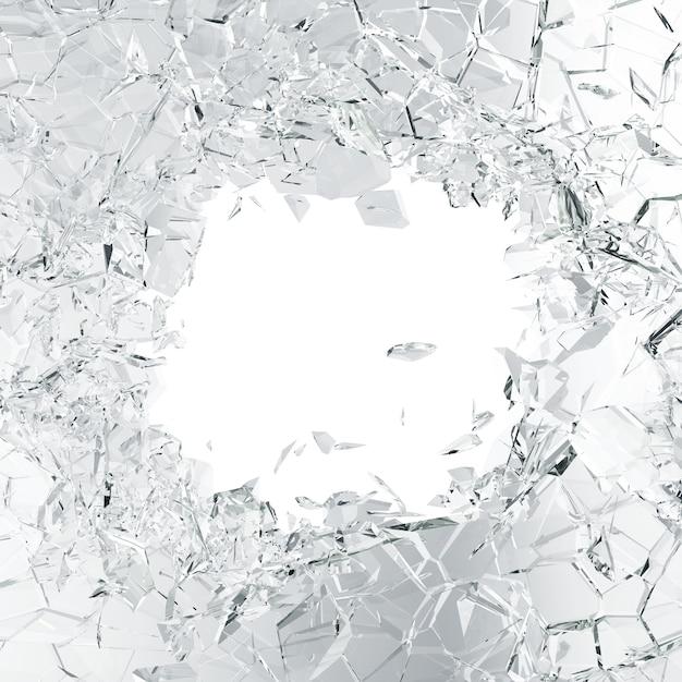 割れたガラスの背景、抽象的な白に分離された作品 Premium写真