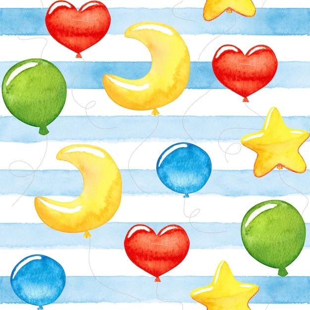 Симпатичные детские разноцветные акварельные шарики Premium Фотографии