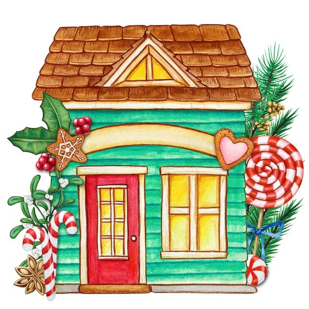 Милый акварельный рождественский домик с угощениями Premium Фотографии