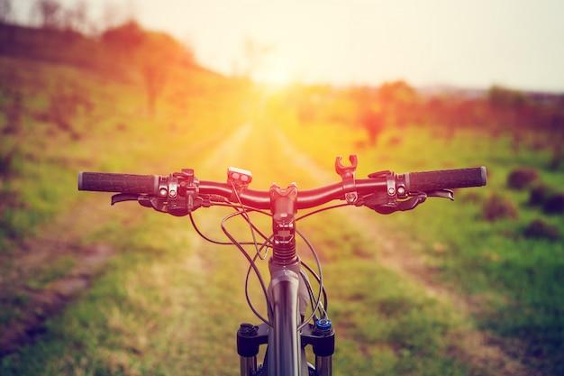 Горный велосипед вниз по склону быстро спускается на велосипеде. вид с байкерских глаз. Premium Фотографии