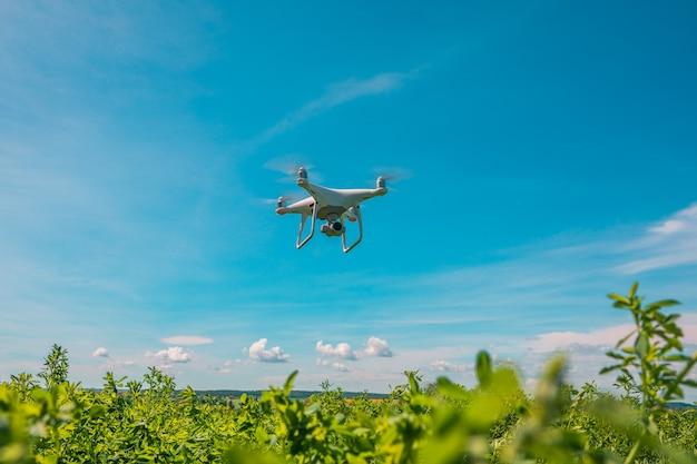 緑のトウモロコシ畑にドローンクアッドヘリコプター Premium写真