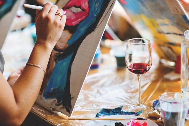 Рисование маслом Premium Фотографии