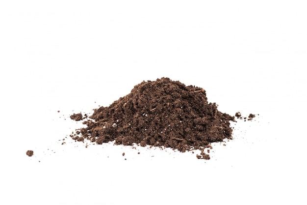 白で隔離土壌や汚れのセクション Premium写真