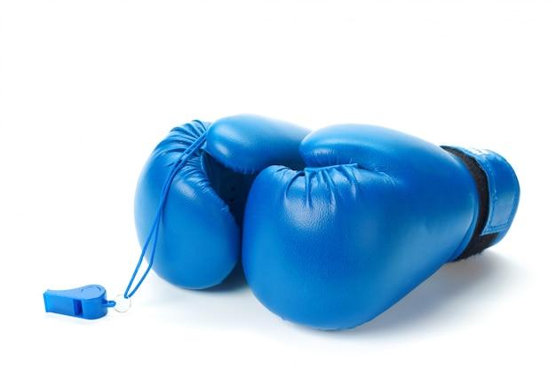 ボクシンググローブ、白のクローズアップ Premium写真