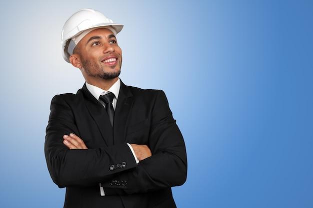 黒人男性のアフリカ系アメリカ人の建設作業員 Premium写真