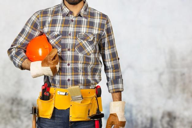 Портрет строителя Premium Фотографии