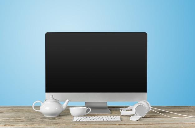 現代のデスクトップコンピューターとテーブルの上の職場 Premium写真
