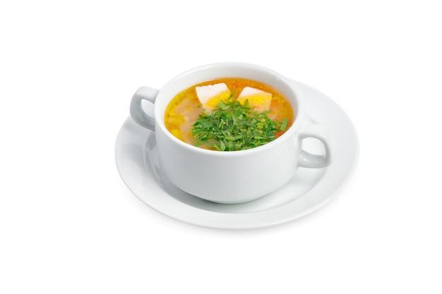 白い背景で隔離のスープ Premium写真