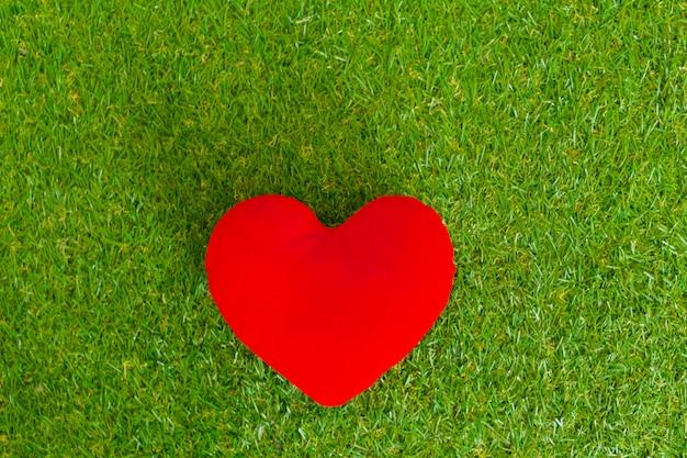 Красное сердце в траве Premium Фотографии