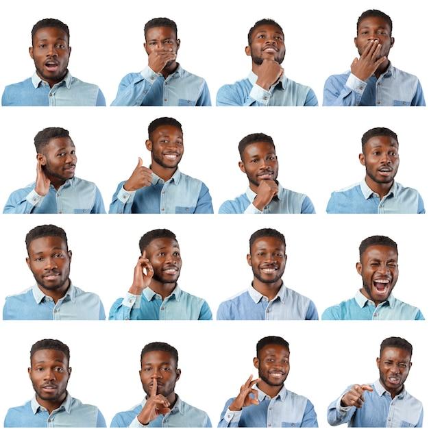 黒人男性の表情セット Premium写真
