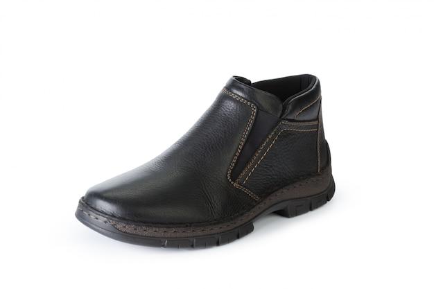 白い背景で隔離された男性の靴アンクルブーツ Premium写真