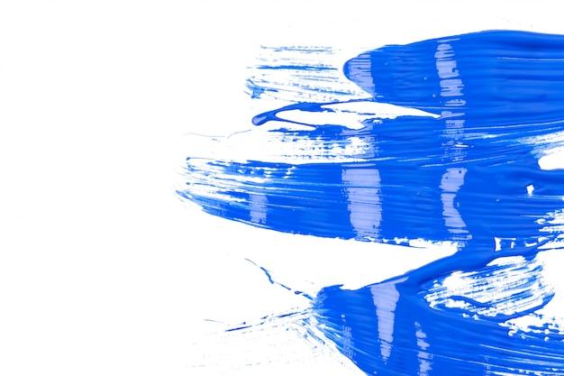 白で隔離塗料の青い痕跡 Premium写真