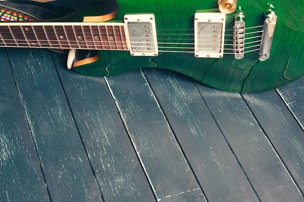エレクトリックギターのボディとネックのディテール Premium写真