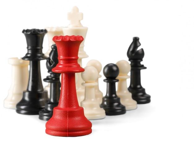 白い背景で隔離のチェス図 Premium写真