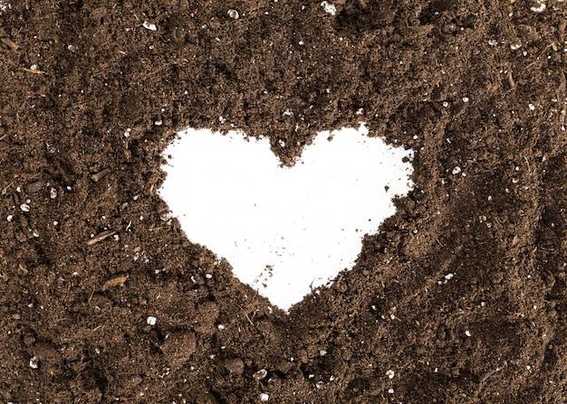 土壌や汚れのセクションが白い背景で隔離 Premium写真