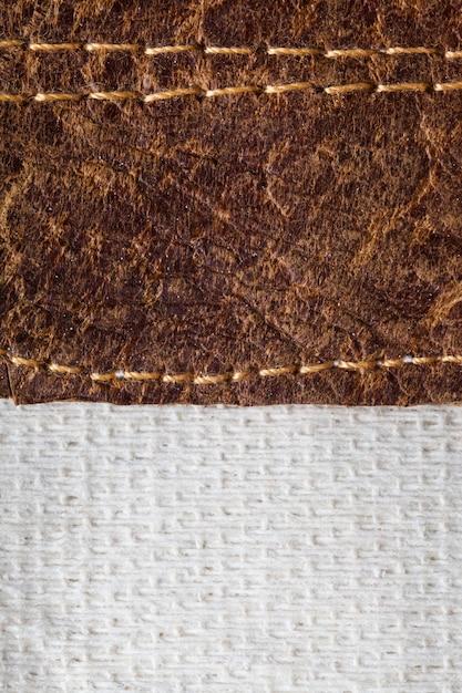 茶色の革の質感のクローズアップ Premium写真