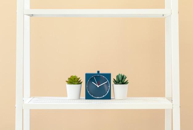 ベージュの壁に鍋に植物と白い本棚 Premium写真