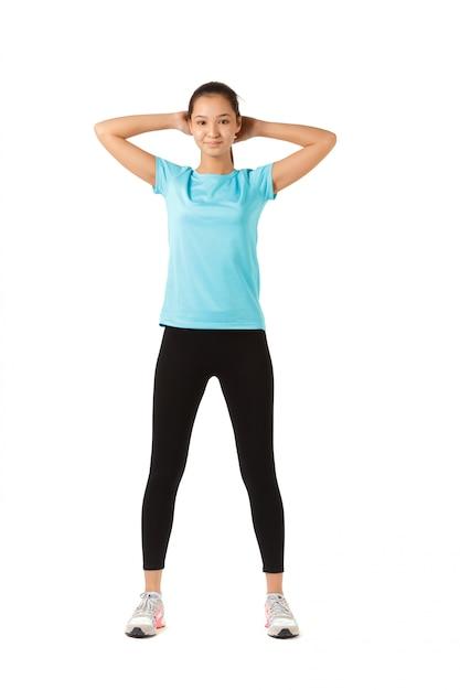 フィットネス女性完全な長さ Premium写真