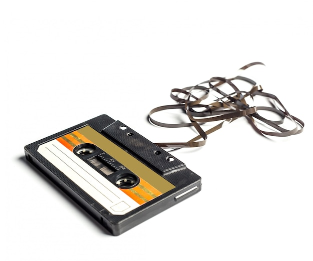 Винтажная кассета изолировала белую поверхность Premium Фотографии