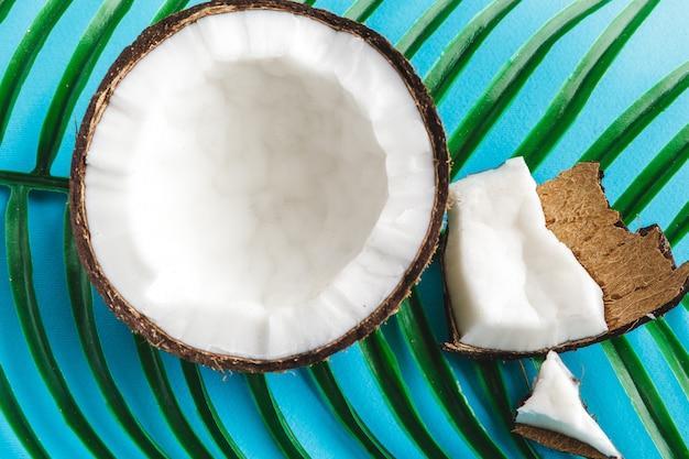 シェルと破損したココナッツの部分をクローズアップ Premium写真