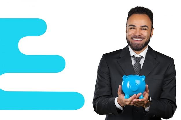 貯金箱を持ってアフリカ系アメリカ人のビジネスマン Premium写真