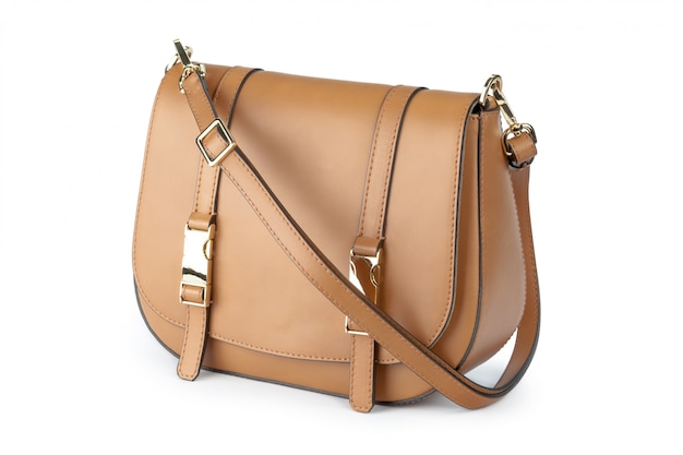白い背景で隔離の女性のバッグのクローズアップ Premium写真